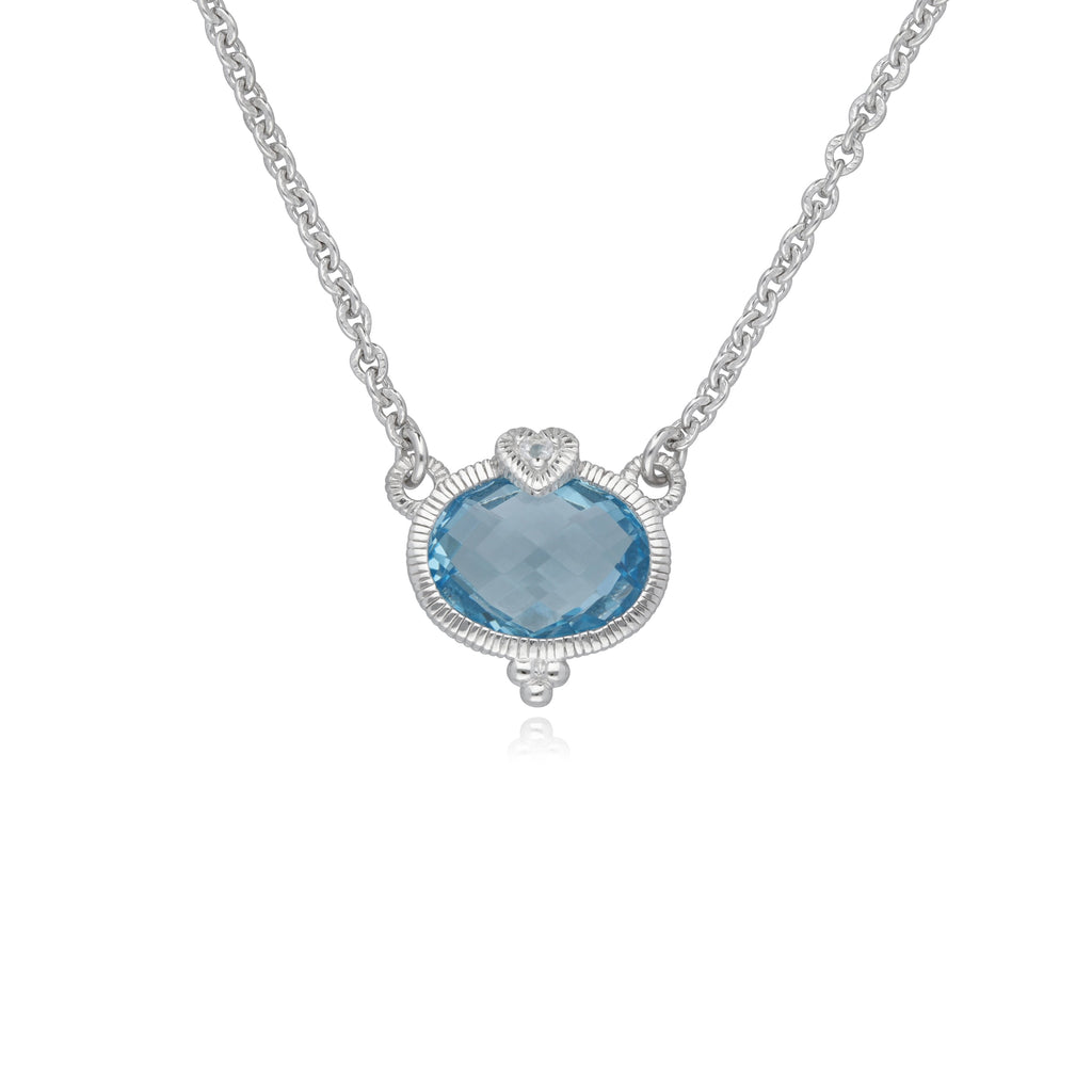Little Luxuries Sky Blue Topaz Oval Pendant with White Topaz Heart Detail