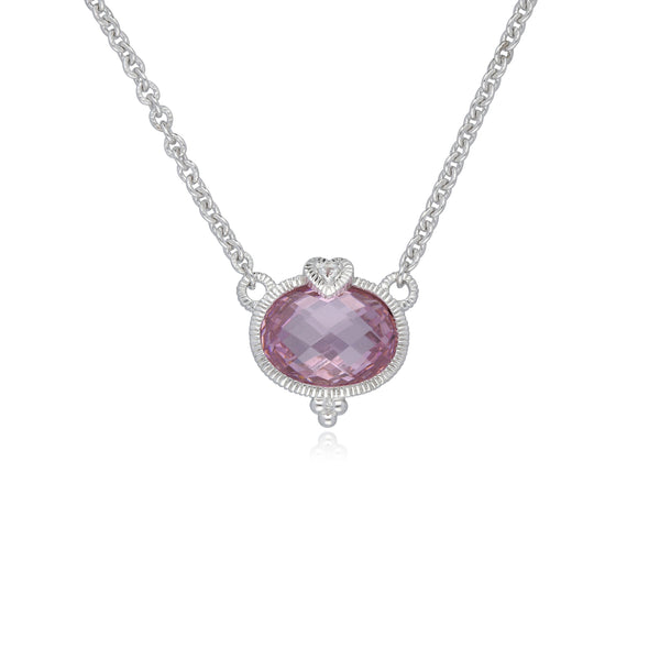 RIPKA La Petite Pink Crystal Oval Pendant with White Topaz Heart Detail