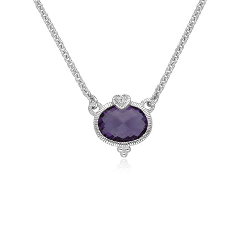 Little Luxuries Amethyst Oval Pendant with White Topaz Heart Detail