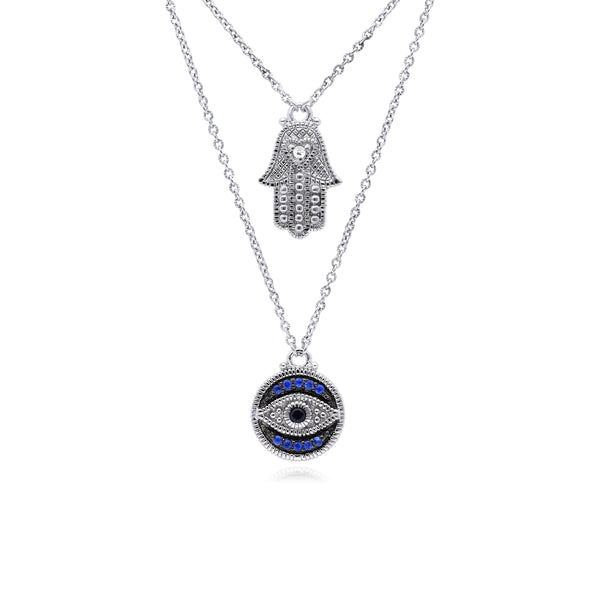 Little Luxuries Black Sapphire, Blue Sapphire and White Topaz Evil Eye Hamsa Pendant