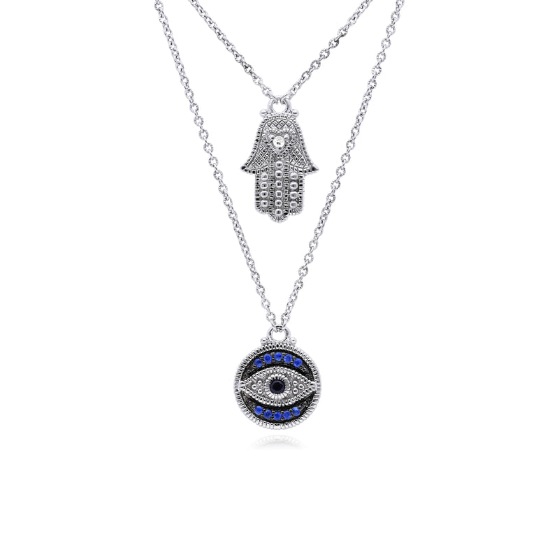 Little Luxuries Black Sapphire, Blue Sapphire & White Topaz Evil Eye Hamsa Pendant