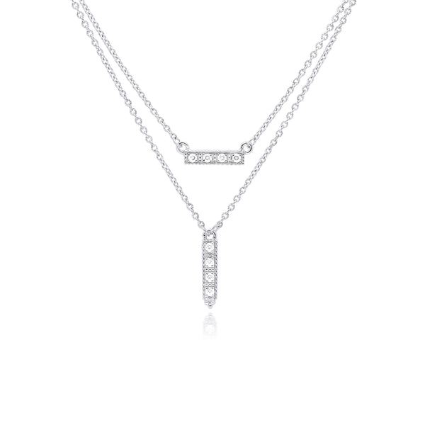 RIPKA La Petite White Topaz Layered Bar Necklace