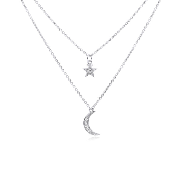 Little Luxuries White Topaz Layered Star & Moon Necklace