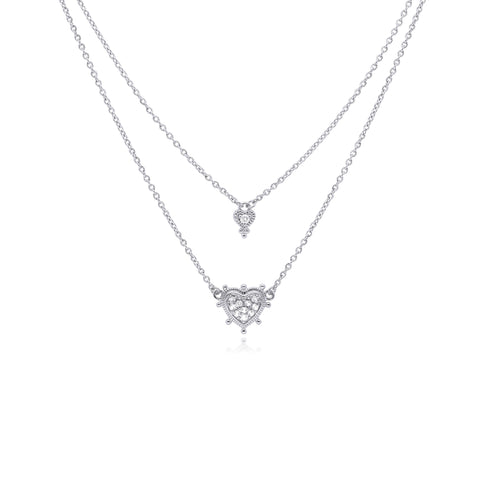 RIPKA La Petite White Topaz Layered Heart Necklace
