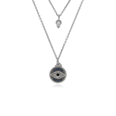 Little Luxuries Black Sapphire, Blue Sapphire & White Topaz Evil Eye and Round Bezel Double Pendant