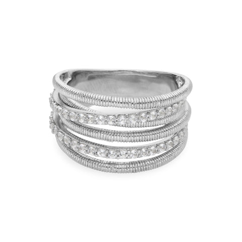 Eternity White Topaz Double Pavé Band Ring