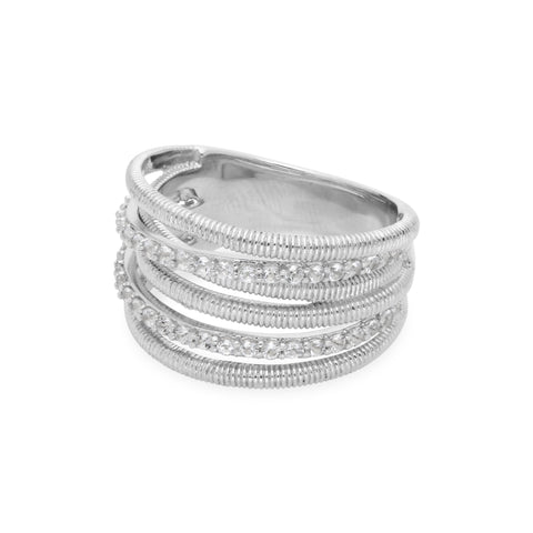 RIPKA Eternity White Topaz Double Pave Band Ring