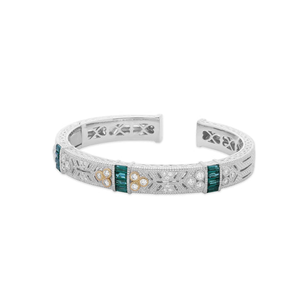 RIPKA Estate Synthetic Green Quartz & White Diamond Cuff