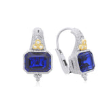 RIPKA Estate Synthetic Blue Sapphire & Diamond Earrings