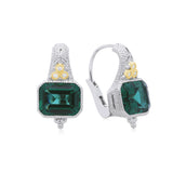 RIPKA Estate Synthetic Green Quartz & Diamond Earrings