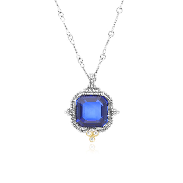 RIPKA Estate Synthetic Blue Sapphire & Diamond Necklace
