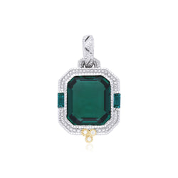 Estate Synthetic Green Quartz & Diamond Enhancer