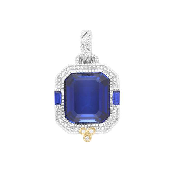 Estate Synthetic Blue Sapphire & Diamond Enhancer