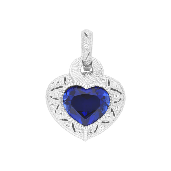 Estate Synthetic Blue Sapphire & White Topaz Heart Pendant
