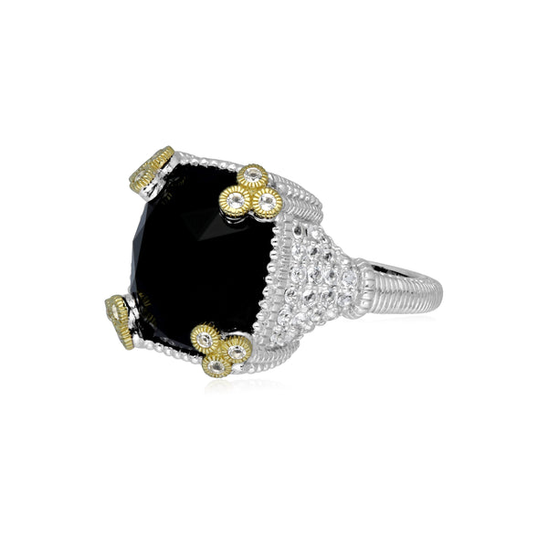 RIPKA Ambrosia Black Onyx Ring with White Topaz Pavé and 18K Gold Accents