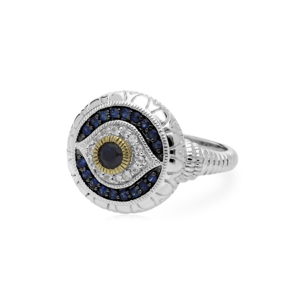 Little Luxuries Black Sapphire, Blue Sapphire, & White Topaz Evil Eye Ring with 18K Gold Accents