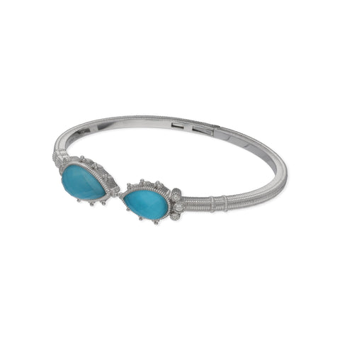 RIPKA Amalfi Double Pear Shape Rose Cut Synthetic Turquoise & Rock Crystal Quartz Doublet Cuff with White Topaz Accents