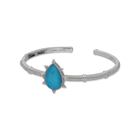 RIPKA Amalfi Pear Shape Rose Cut Synthetic Turquoise & Rock Crystal Quartz Doublet Cuff with White Topaz Accents
