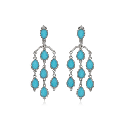 RIPKA Amalfi Pear Shape Rose Cut Synthetic Turquoise & Rock Crystal Quartz Doublet Chandelier Earrings