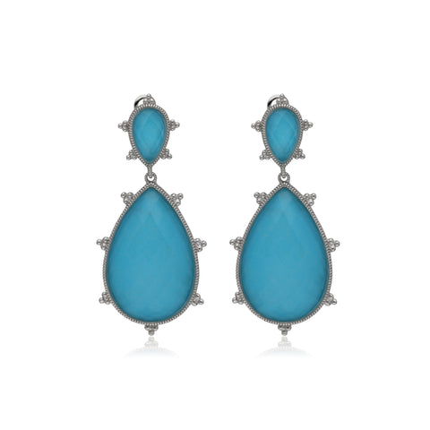 RIPKA Amalfi Large Pear Shape Rose Cut Synthetic Turquoise & Rock Crystal Quartz Doublet Drop Earrings