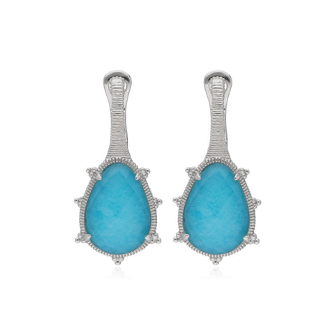 RIPKA Amalfi Pear Shape Rose Cut Synthetic Turquoise & Rock Crystal Quartz Doublet Drop Earrings