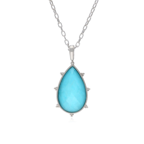 RIPKA Amalfi Pear Shape Rose Cut Synthetic Turquoise & Rock Crystal Quartz Doublet Pendant with White Topaz Accents