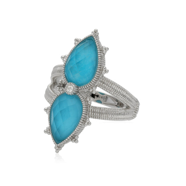 RIPKA Amalfi Double Pear Shape Rose Cut Synthetic Turquoise & Rock Crystal Quartz Doublet Ring with White Topaz Accents