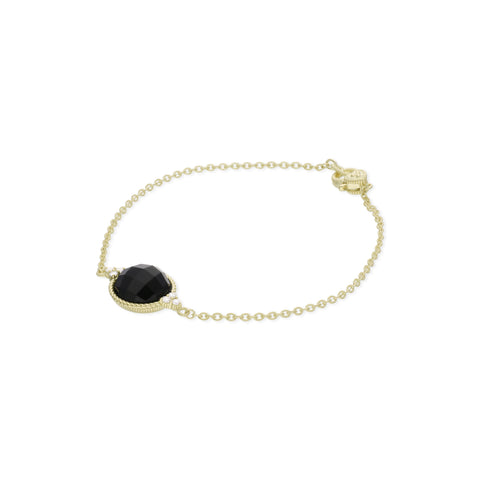 RIPKA Luna Round Checkerboard Black Onyx Stone Bracelet with Diamond Accents