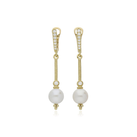 RIPKA Bella Pearl Drop Stick Earrings with Bezel Set Diamonds