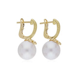 RIPKA Bella Small Pearl Drop Earrings with Diamond Accents