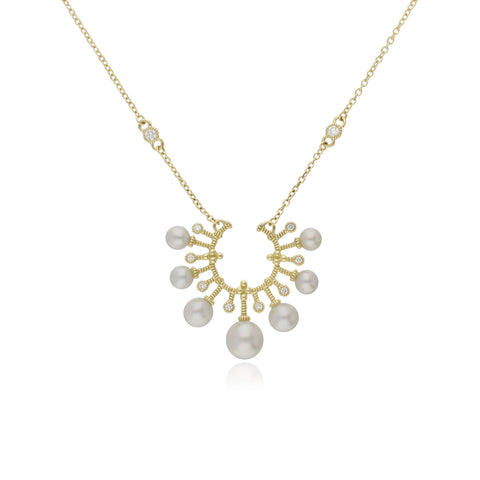 RIPKA Bella Pearl and Diamond Horseshoe Necklace
