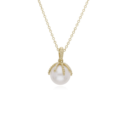 RIPKA Bella Pearl Claw Necklace with Diamond Accents