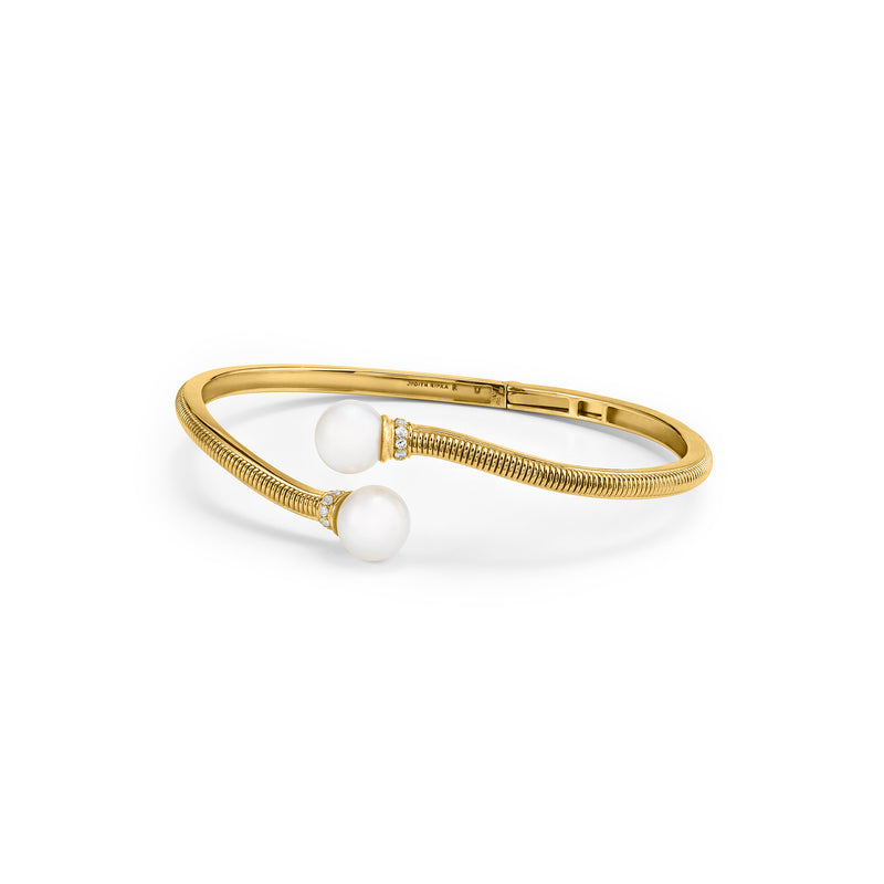 Shima Bypass Cuff with Freshwater Pearls and Diamonds in 18K