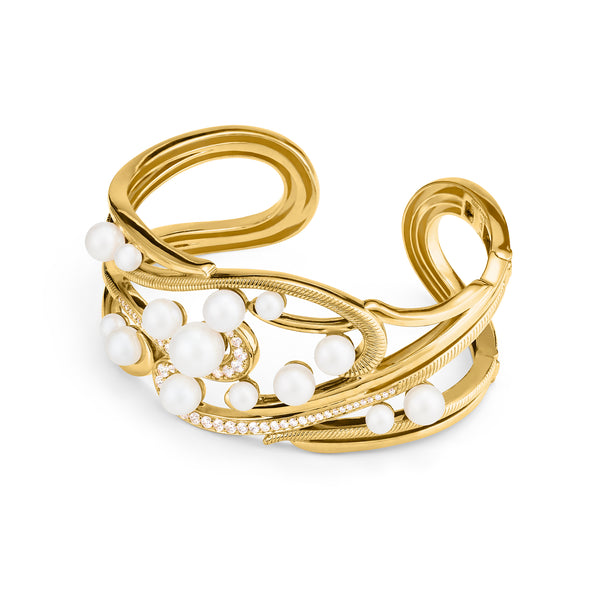 Shima Cuff Bracelet with Freshwater Pearls and Diamonds in 18K