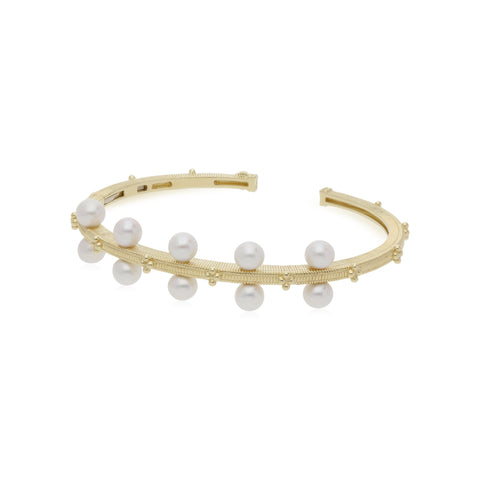 RIPKA Bella Cuff with Pearls with Diamond Accents