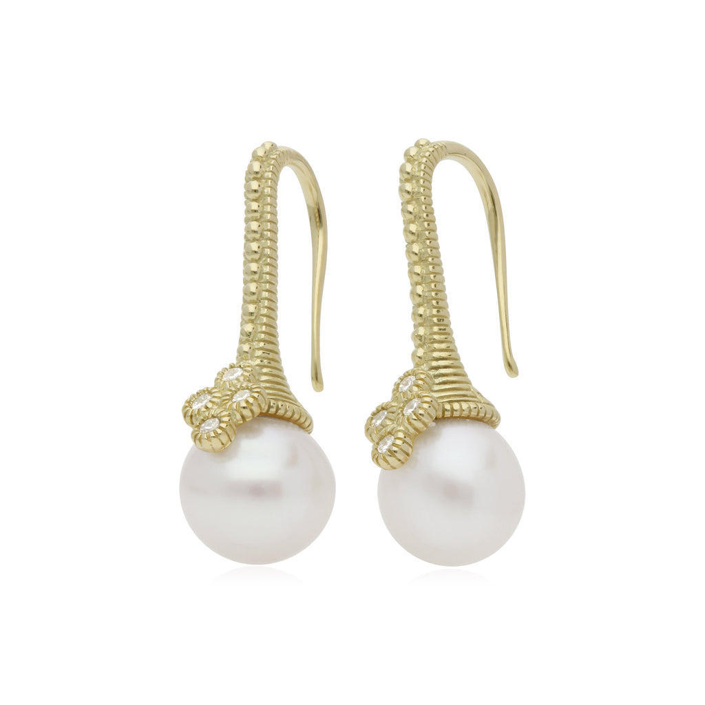 Bella Pearl Drop Earrings with Diamond Accents