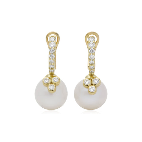 RIPKA Bella Pearl Earrings with Pavé Detail