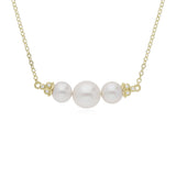 RIPKA Bella Triple Pearl Bar Chain Necklace with Diamond Accents
