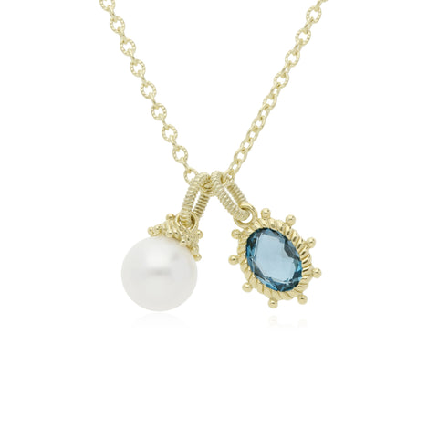 RIPKA Bella Pearl and London Blue Topaz Charm Necklace