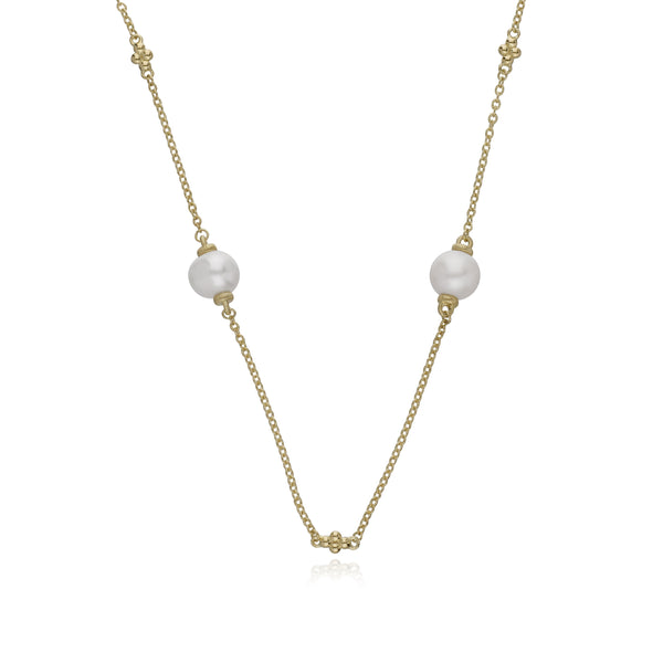 RIPKA Bella Pearl Alternating Station Long Chain Necklace
