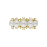 RIPKA Bella Pearl Band Ring with Diamond Accents