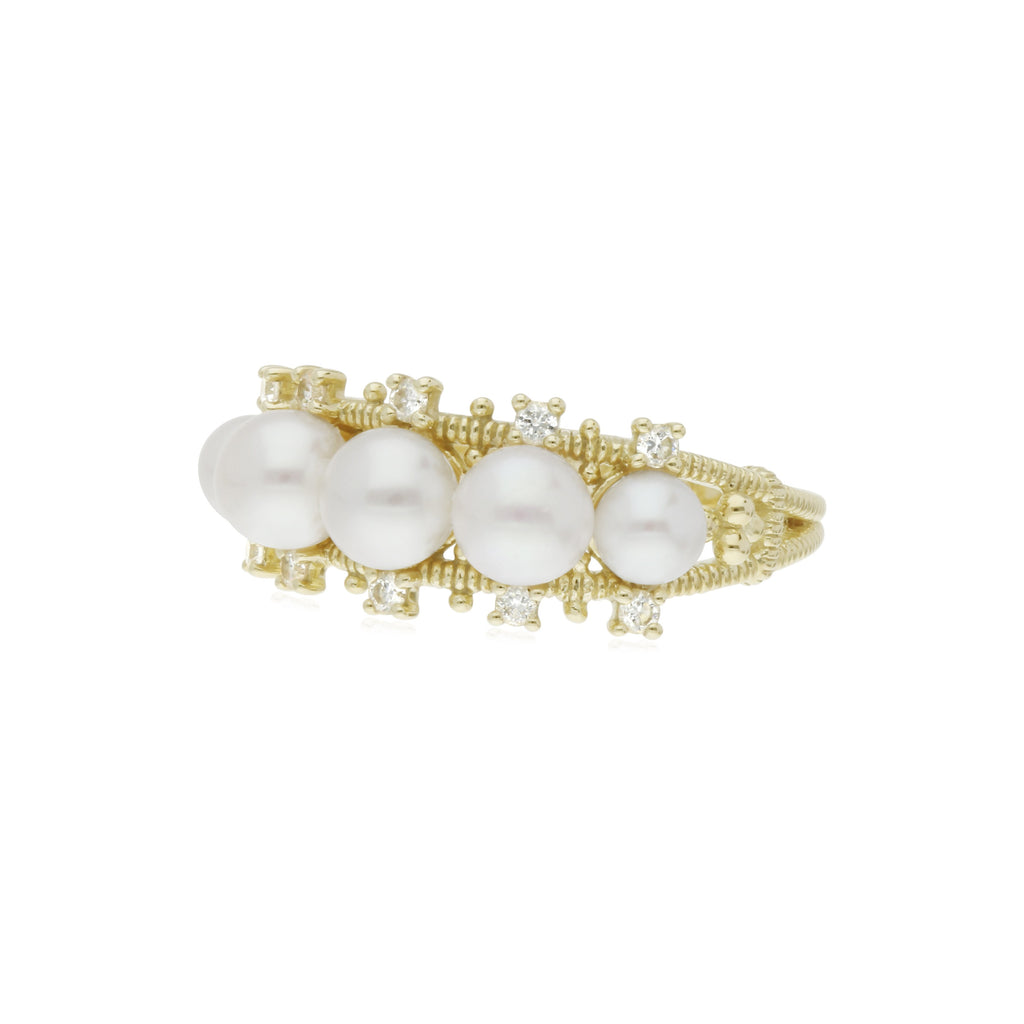 Bella Pearl Band Ring with Diamond Accents