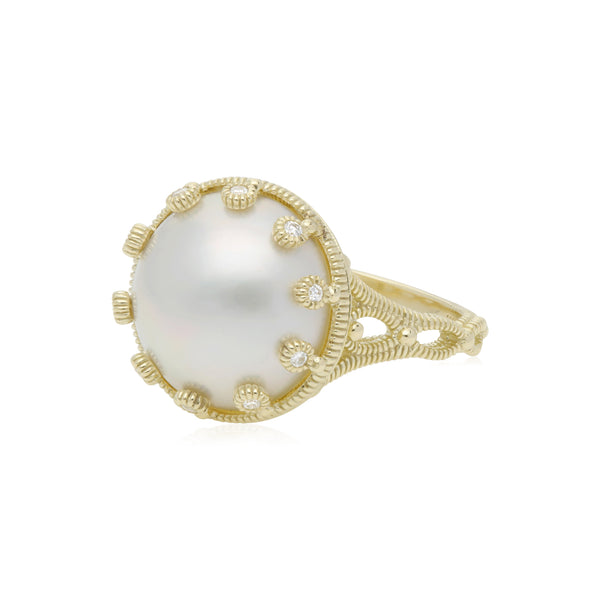 RIPKA Bella Cultured Mabe Pearl Tiara Ring with Diamond Accents