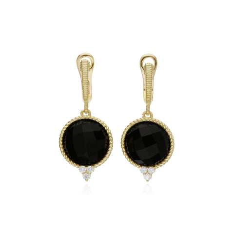 Luna Checkerboard Large Black Onyx Drop Earrings With Diamond Accents