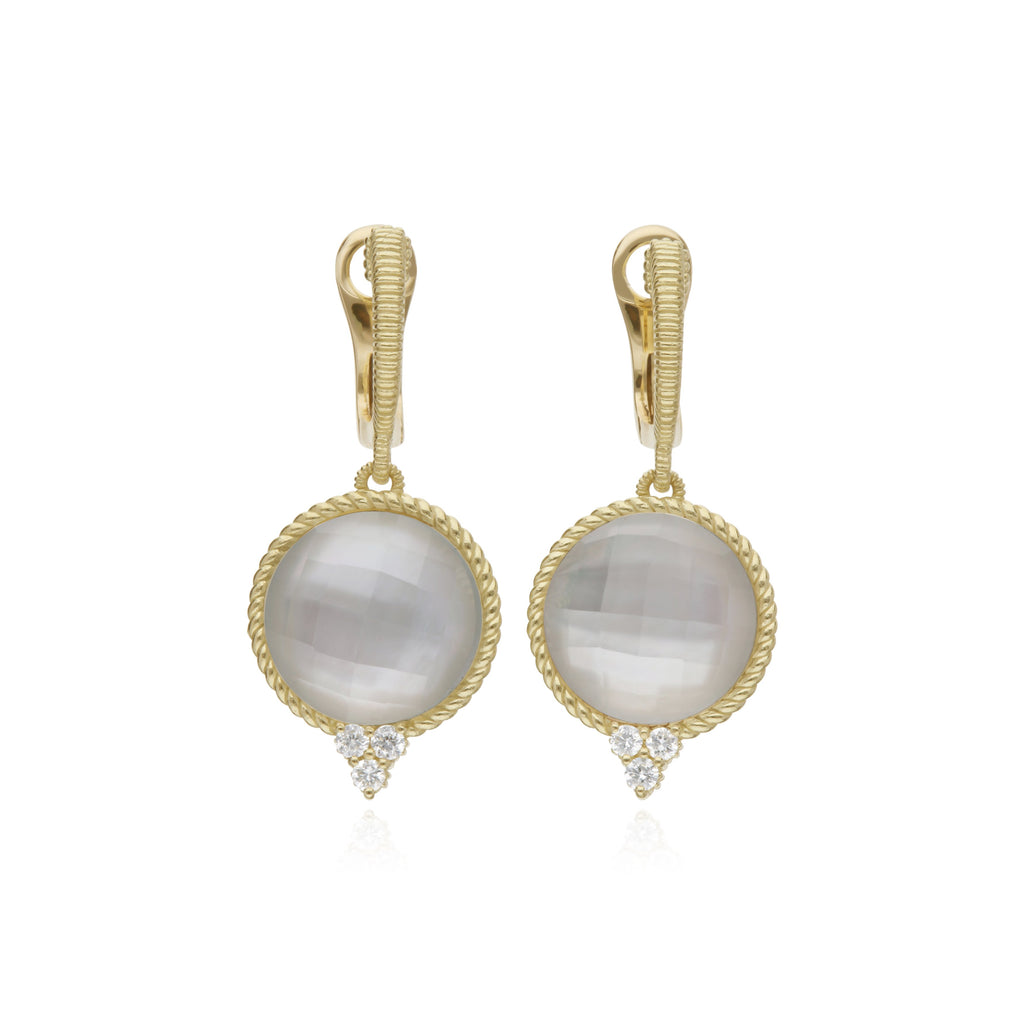 Luna Checkerboard Large Mother Of Pearl Doublet Drop Earrings With Diamond Accents