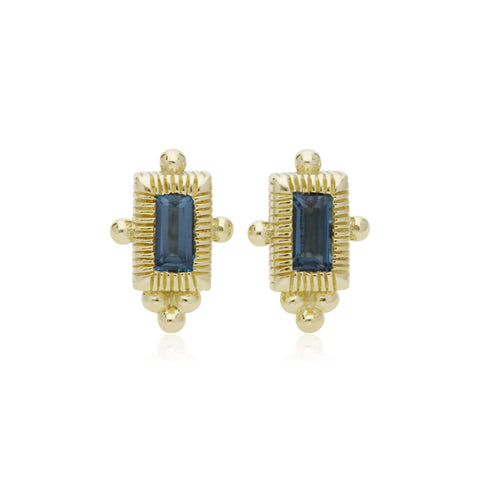 RIPKA La Petite London Blue Topaz Mini Baguette Stud Earrings