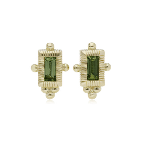 RIPKA La Petite Peridot Mini Baguette Stud Earrings