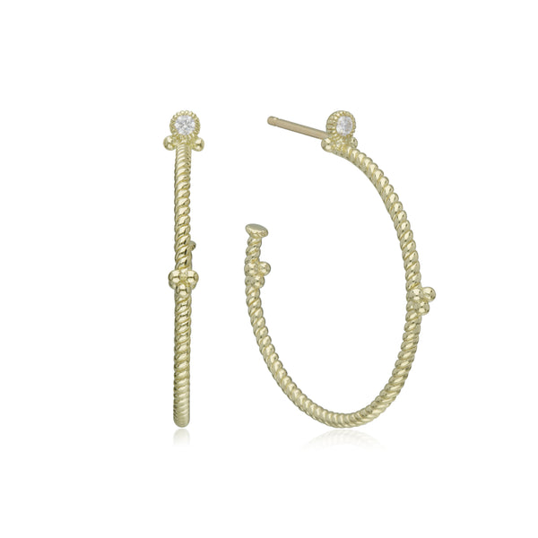 Little Luxuries Large Hoop Earrings with Diamond Gothic Top