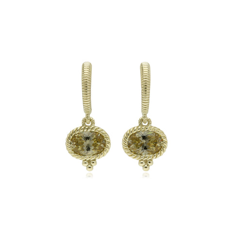 RIPKA La Petite Oval Canary Crystal Drop Earrings
