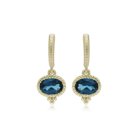 RIPKA La Petite Horizontal Oval London Blue Topaz Earrings